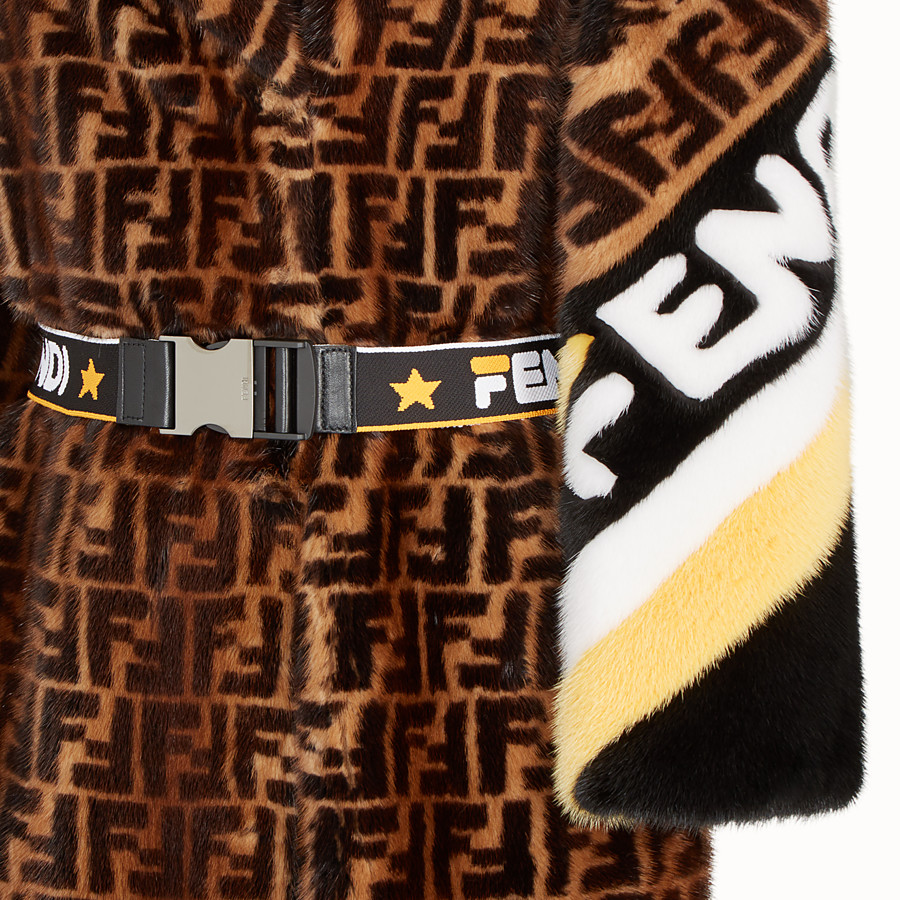 FENDI COAT - Multicolour fur coat - view 3 detail