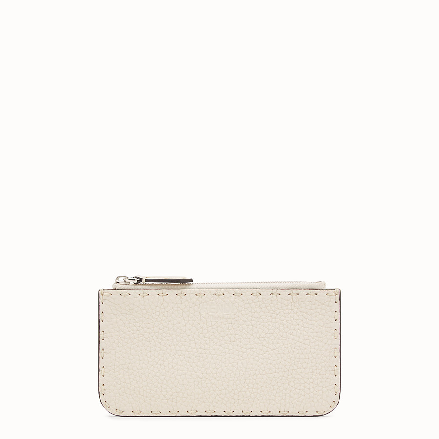 FENDI CARD POUCH - White leather pouch - view 1 detail
