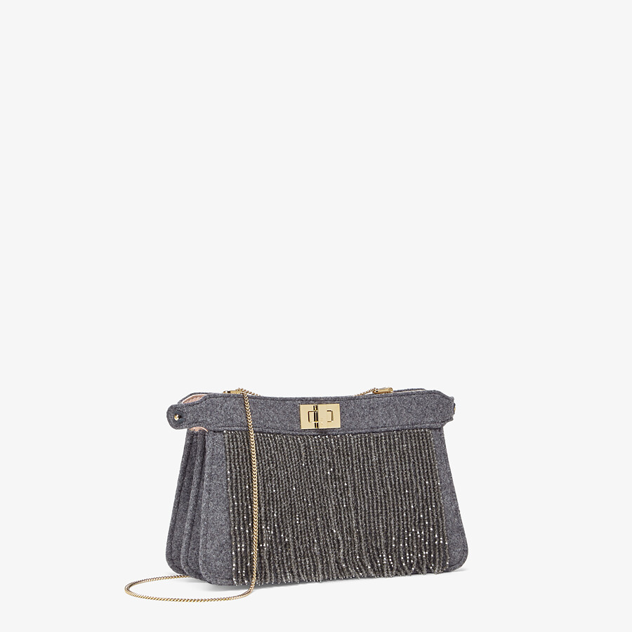 FENDI PEEKABOO ISEEU POCHETTE - Gray flannel bag with fringes - view 2 detail