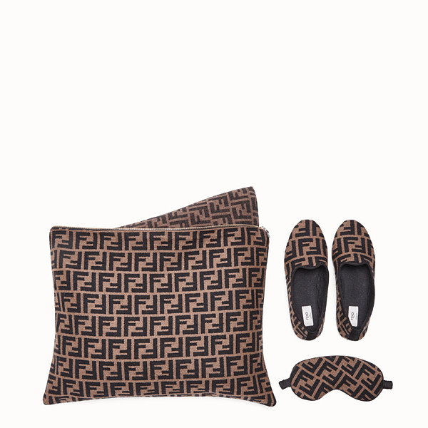 FENDI TRAVEL SET - Brown cashmere travel set - view 1 small thumbnail