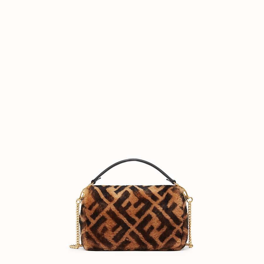 FENDI MINI BAGUETTE - Brown sheepskin bag - view 3 detail