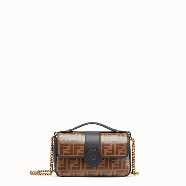 FENDI DOUBLE F SMALL - Brown leather and fabric bag - view 1 small thumbnail