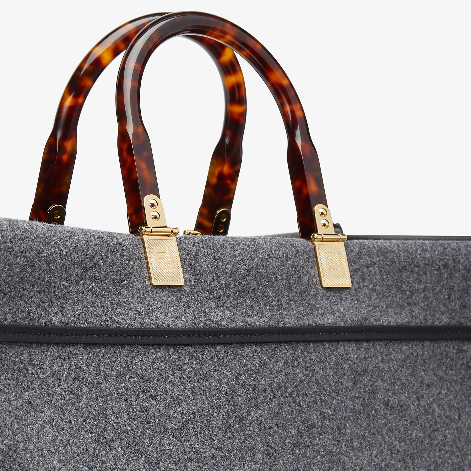 FENDI FENDI SUNSHINE LARGE - Gray flannel shopper - view 5 detail