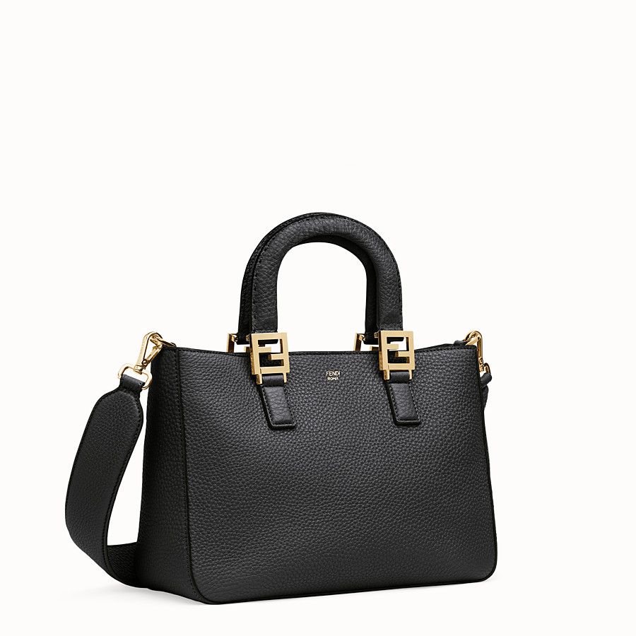 FENDI FF TOTE SMALL - Black leather bag - view 3 detail