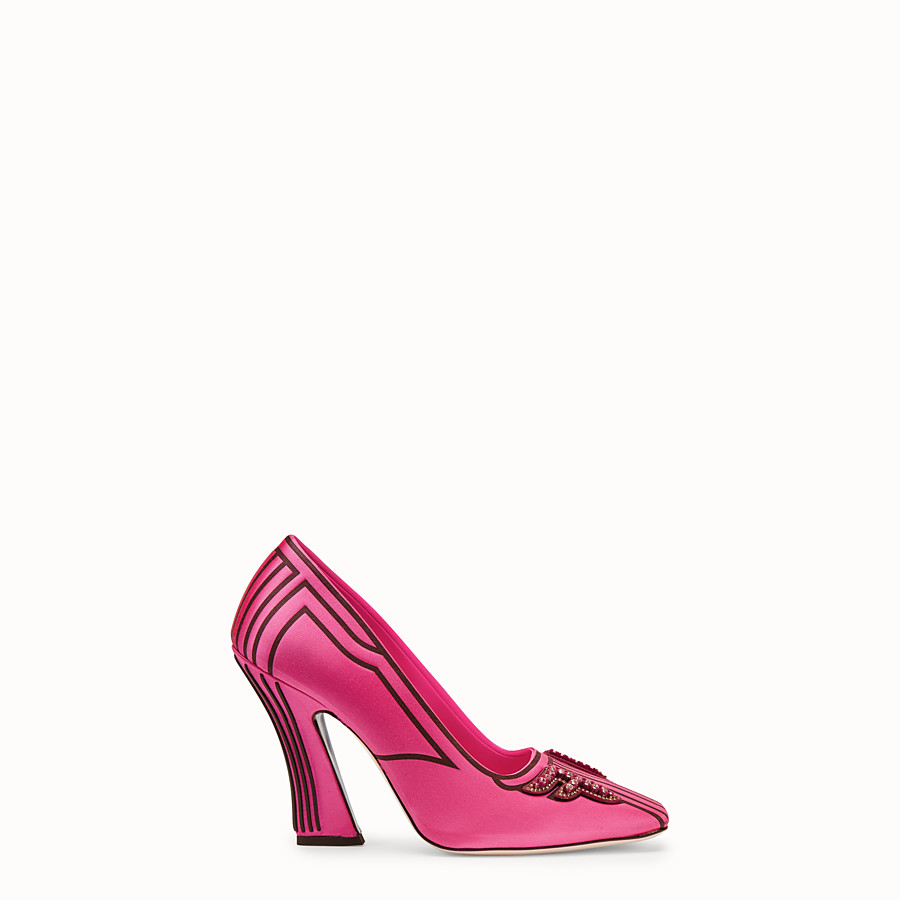 FENDI COURT SHOES - Court shoes in fuchsia satin - view 1 detail