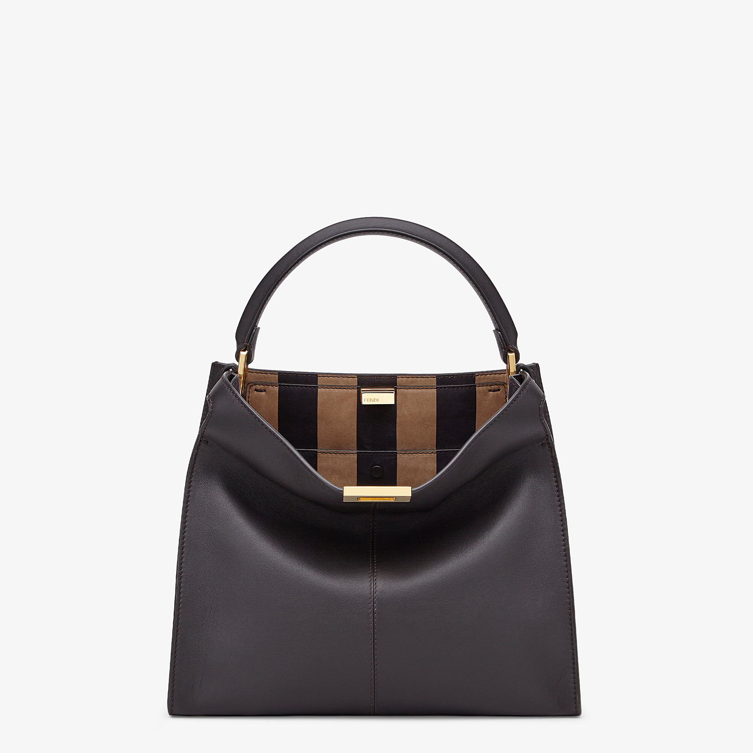 FENDI PEEKABOO X-LITE MEDIUM - Borsa in pelle marrone - vista 3 dettaglio