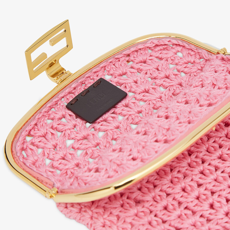 FENDI BAGUETTE PHONE BAG - Pink fabric mini-bag - view 4 detail