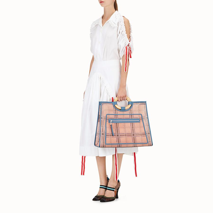 FENDI RUNAWAY購物袋 - 拼色皮革和網眼布購物袋 - view 5 detail