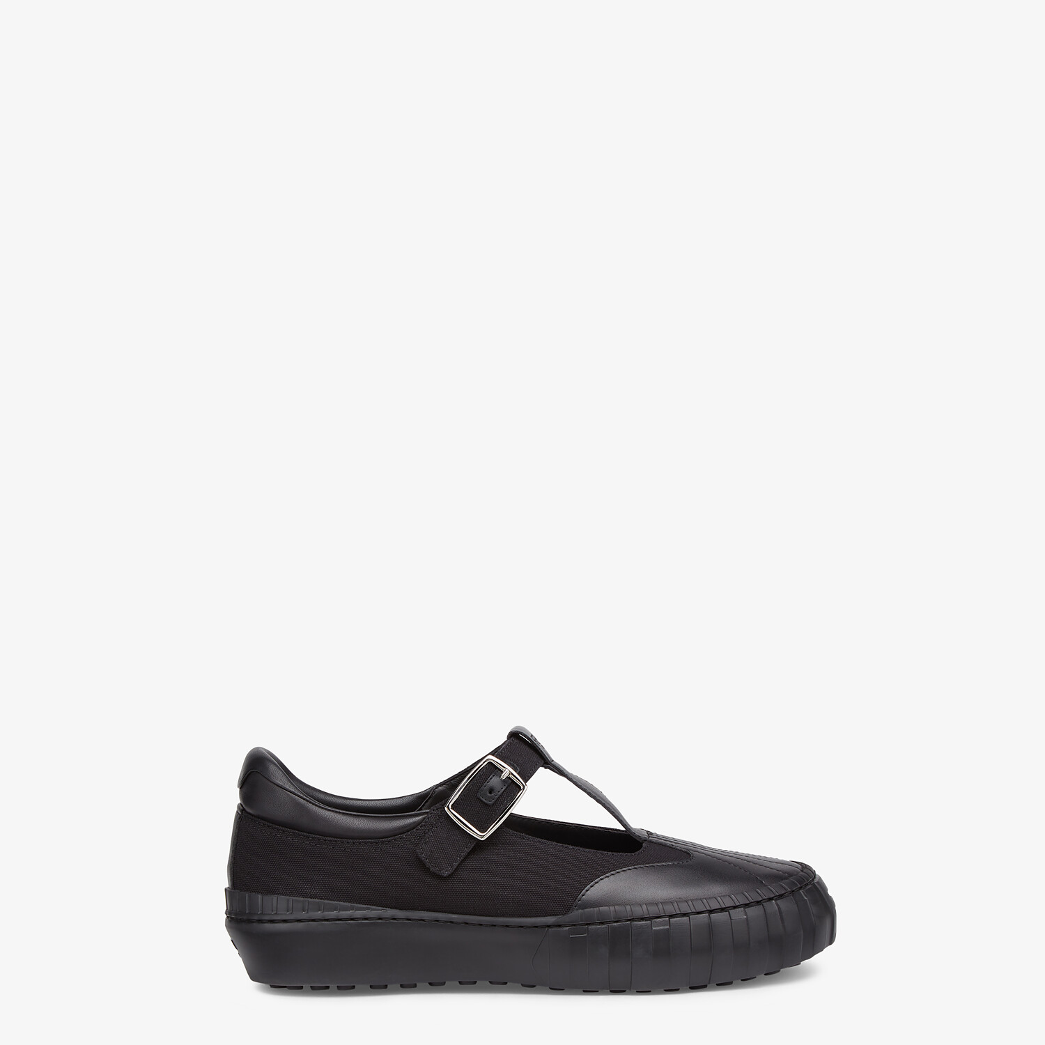 FENDI SNEAKERS - Black canvas low tops - view 1 detail