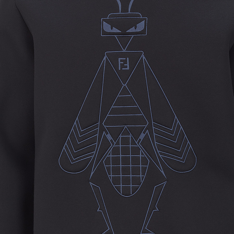 FENDI SWEATSHIRT - Black cotton jersey pullover - view 3 detail