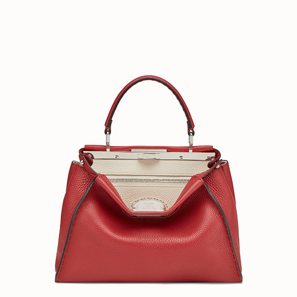 FENDI PEEKABOO REGULAR - Red leather bag - view 1 small thumbnail