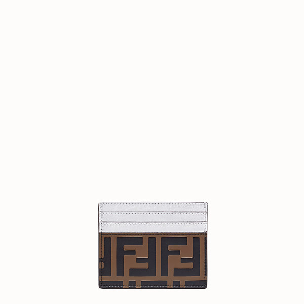 FENDI CARD HOLDER - Flat, silver leather cardholder - view 1 small thumbnail
