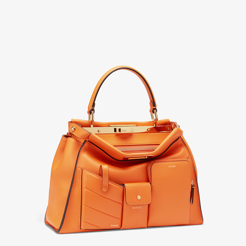 FENDI PEEKABOO ICONIC MEDIUM - Orange leather bag - view 3 detail