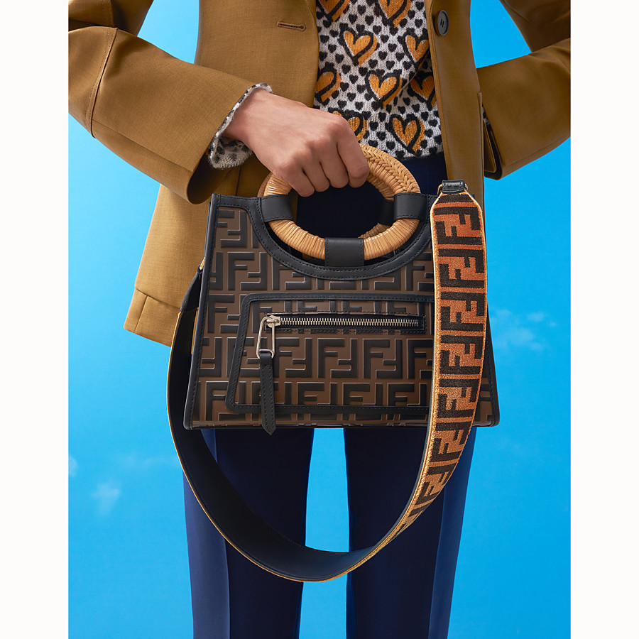 FENDI RUNAWAY SHOPPER - Brown leather small shopper - view 5 detail