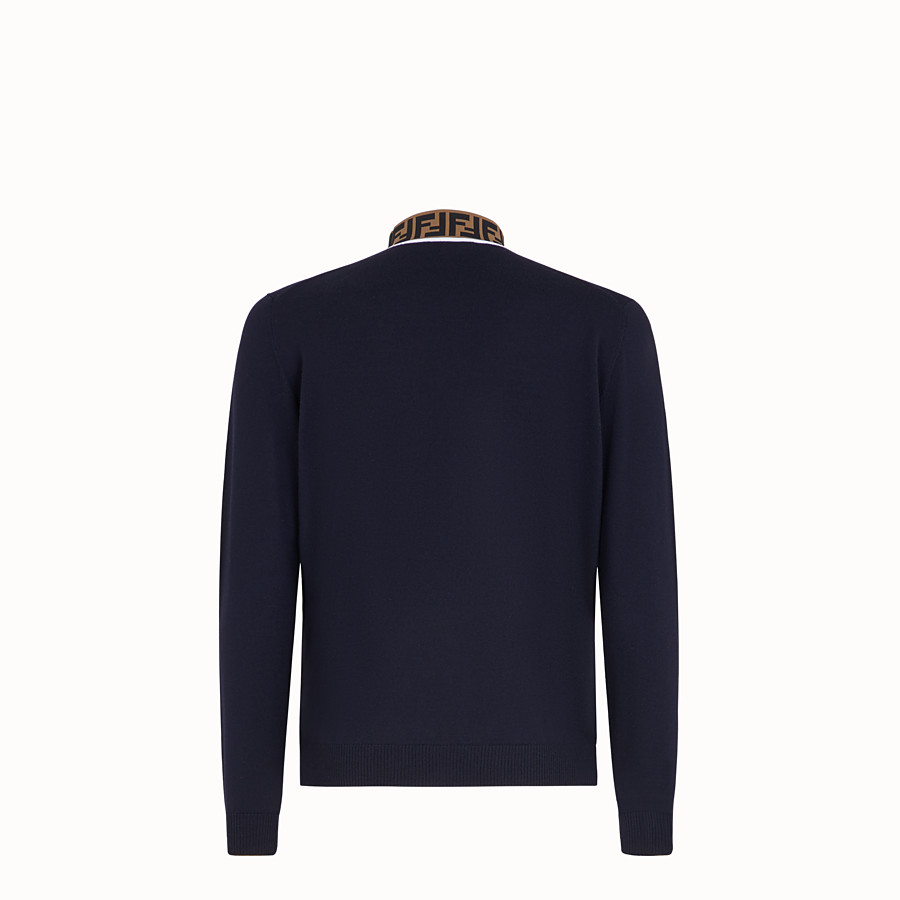 FENDI TURTLENECK - Blue wool jumper - view 2 detail