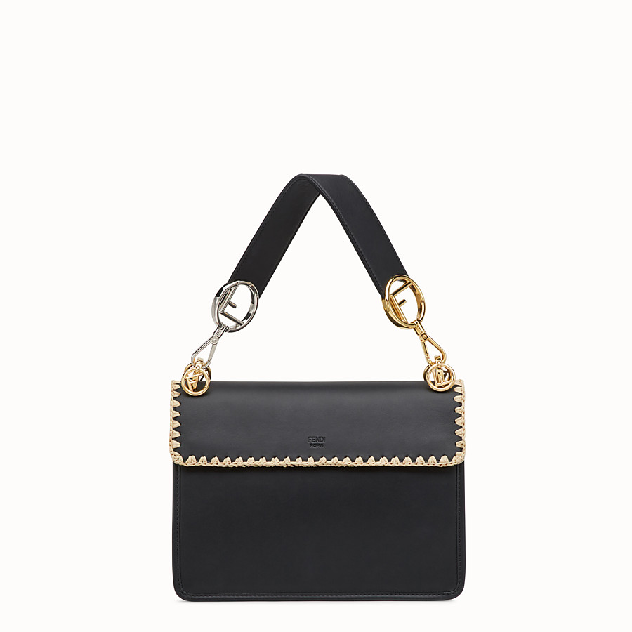 FENDI KAN I F - Black leather bag with exotic details - view 3 detail