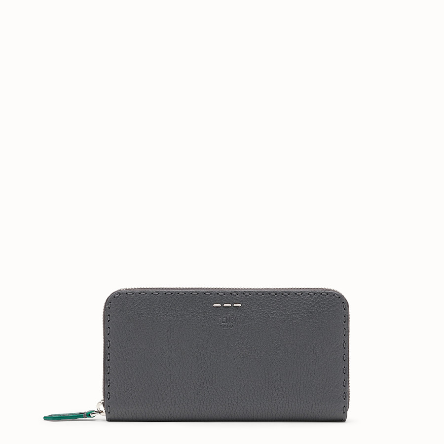 FENDI ZIP-AROUND - Grey leather wallet - view 1 detail