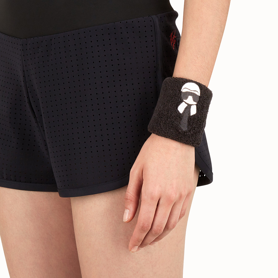 FENDI WRISTBANDS - Black embroidered cotton wristbands - view 2 detail