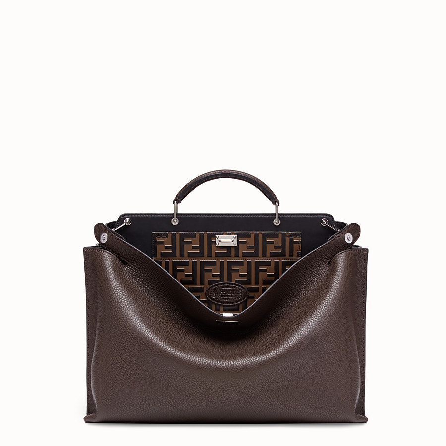 FENDI PEEKABOO ICONIC ESSENTIAL - Brown calf leather bag - view 1 detail