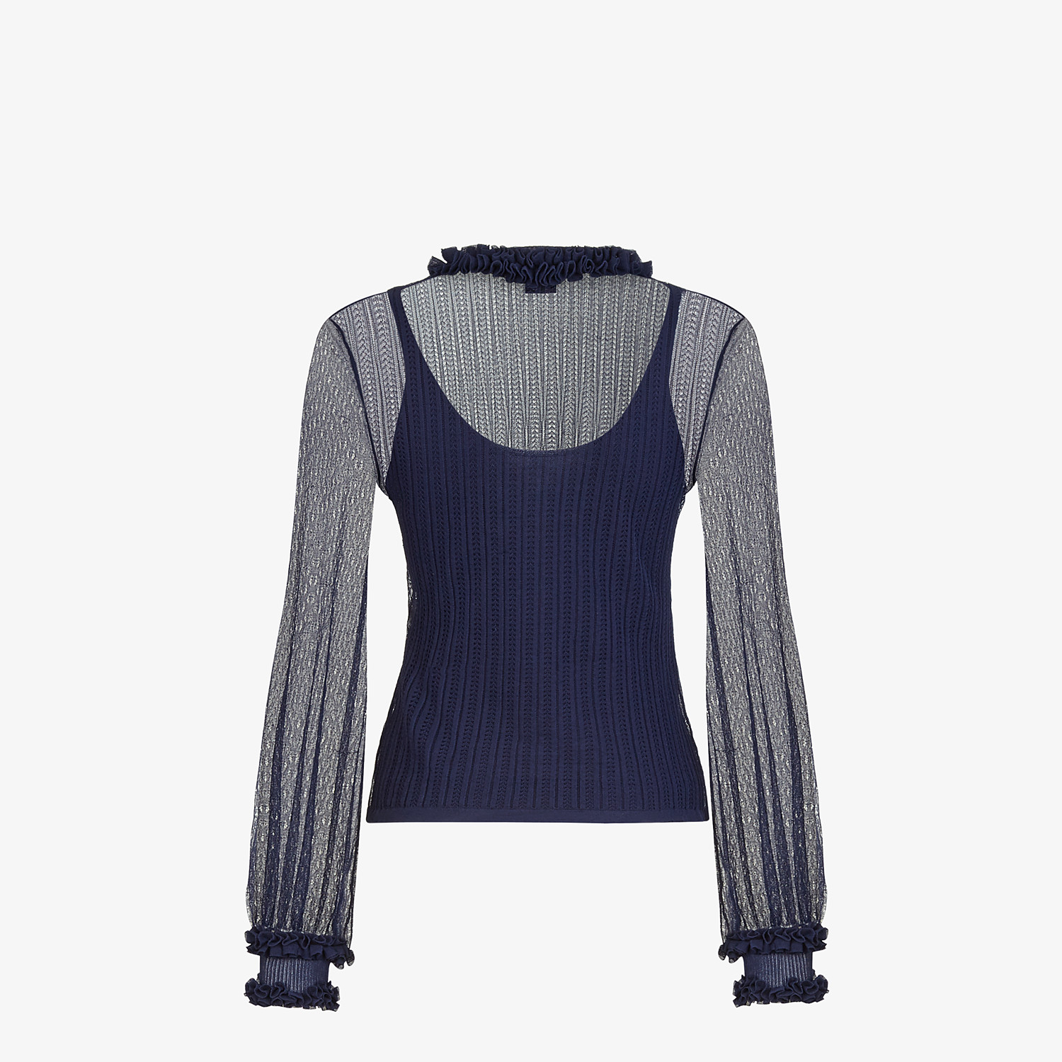 FENDI PULLOVER - Blue lace jumper - view 2 detail