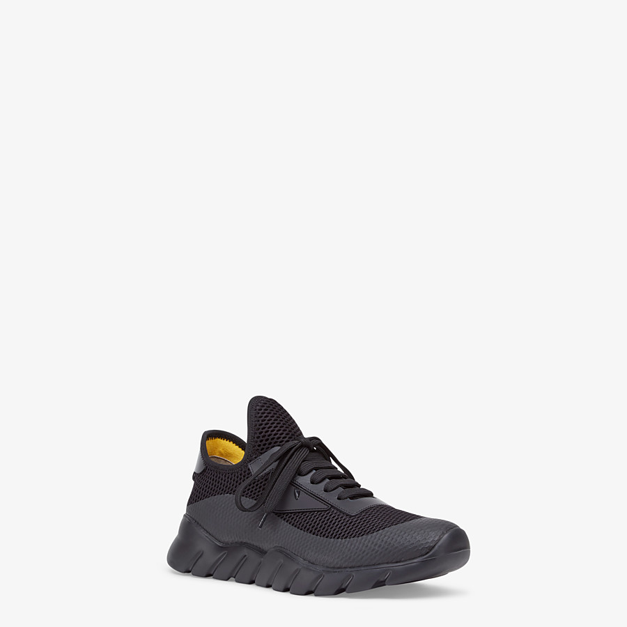 FENDI SNEAKERS - Black tech mesh running shoes - view 2 detail