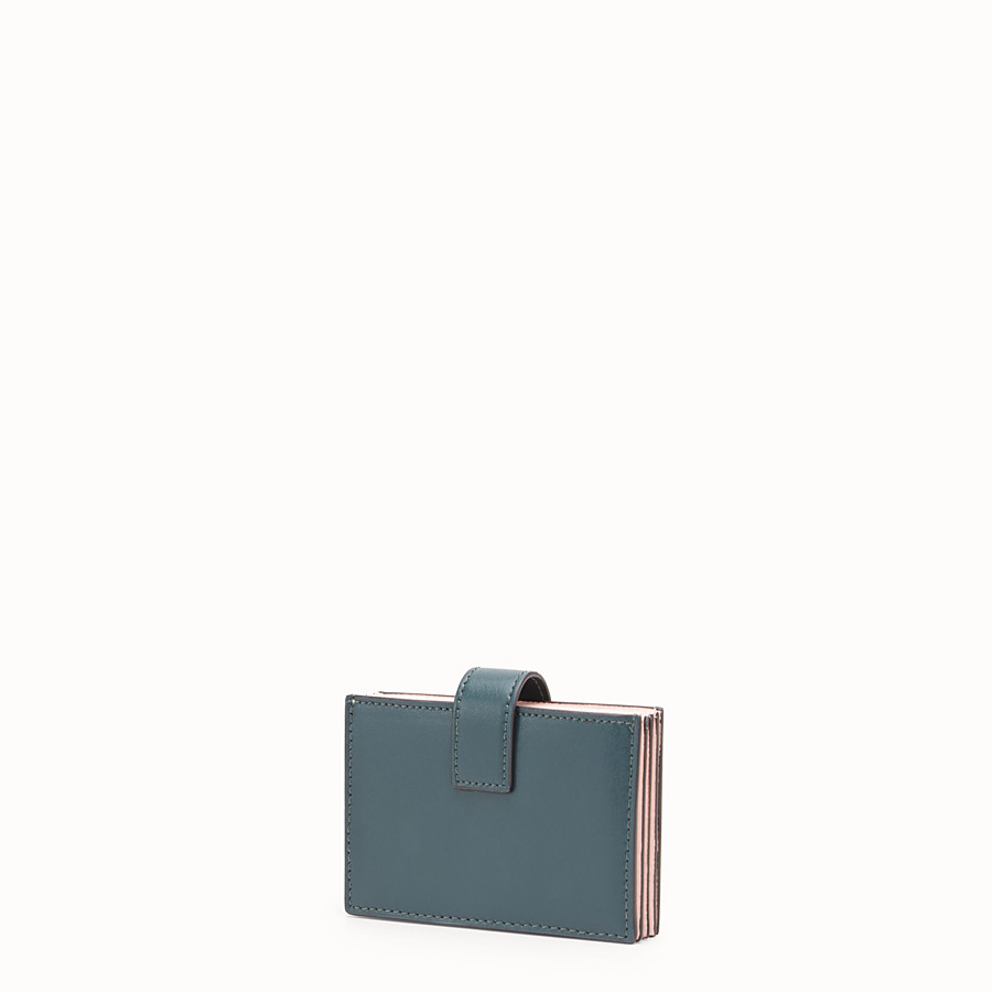 FENDI CARD HOLDER - Green leather gusseted card holder - view 2 detail