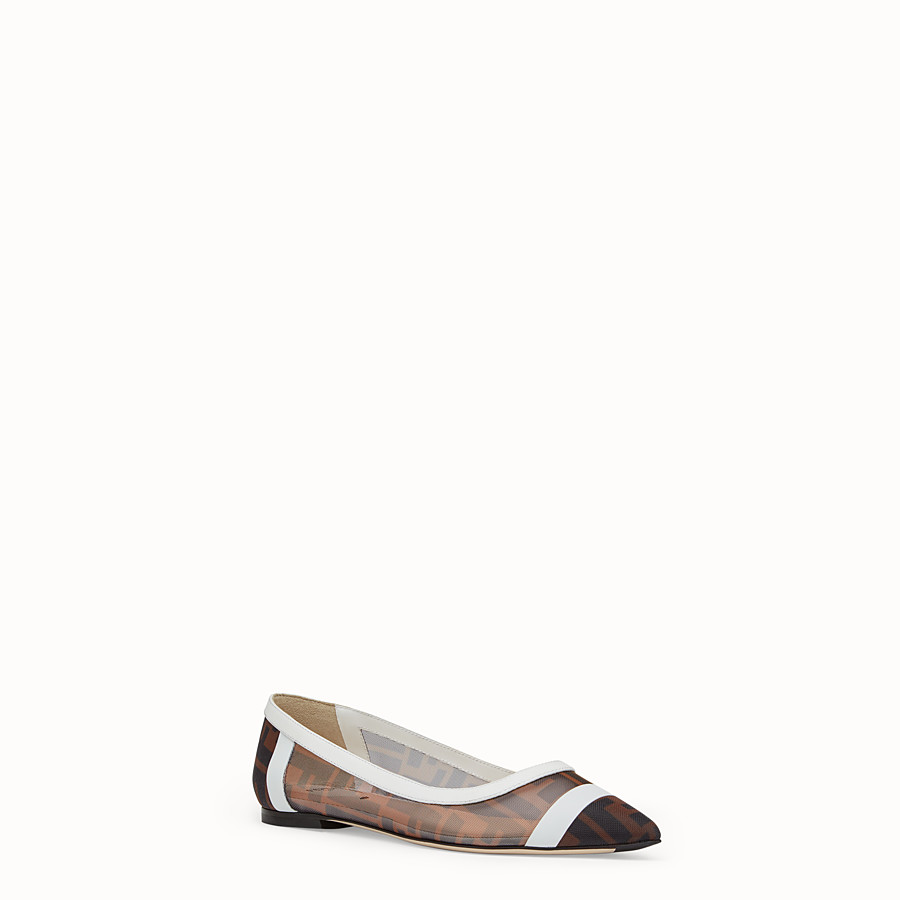 FENDI BALLERINAS - Mesh and white leather flats - view 2 detail