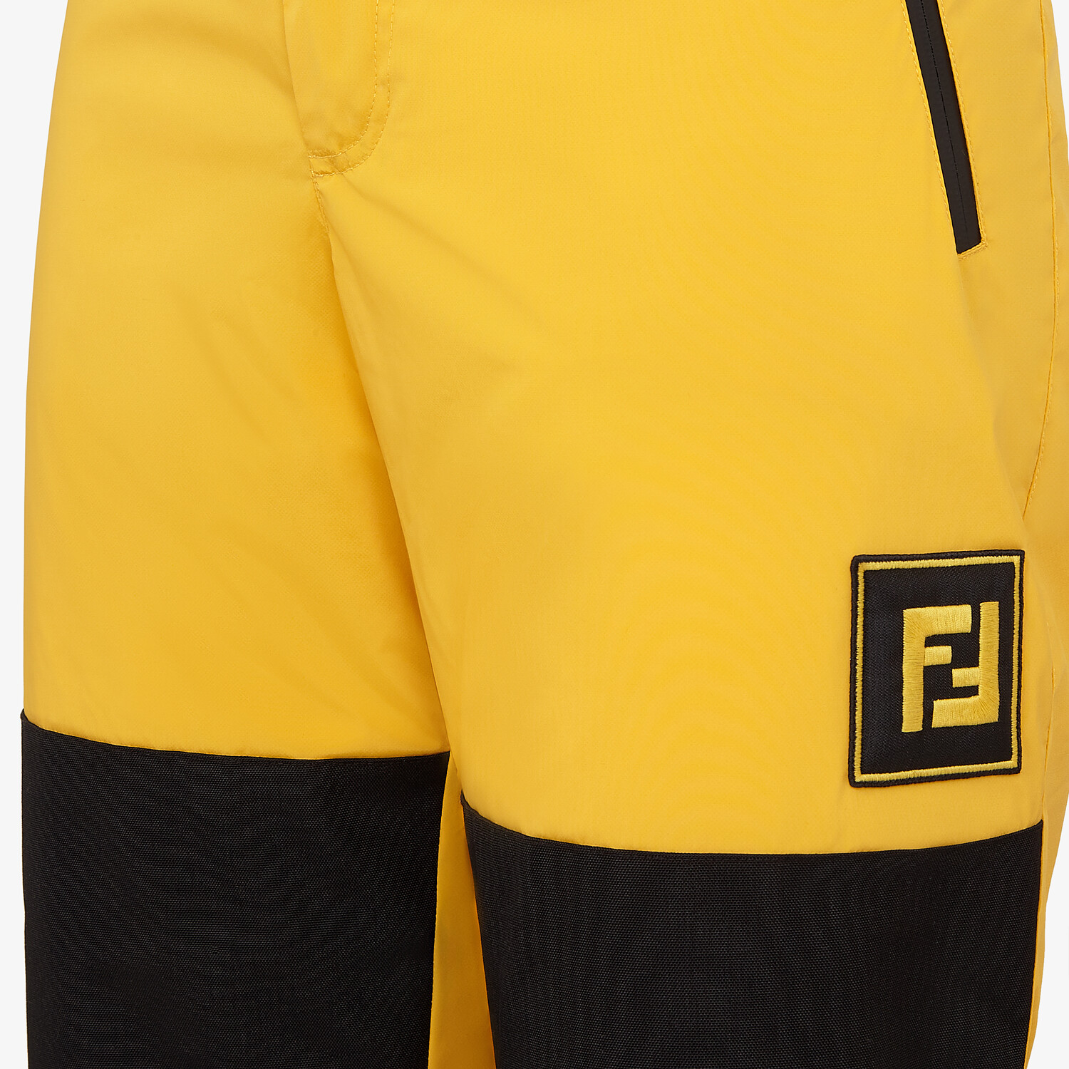 FENDI PANTS - Yellow tech fabric jogging pants - view 3 detail