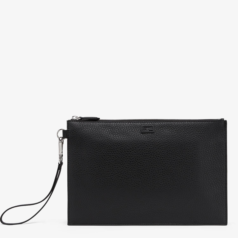 FENDI FLAT POUCH - Black leather bag - view 1 detail