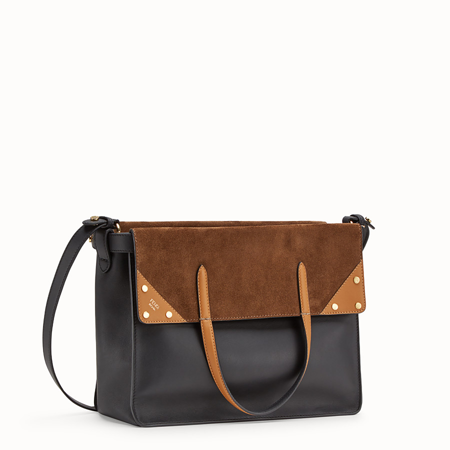 FENDI FENDI FLIP LARGE - Multicolour leather and suede bag - view 4 detail