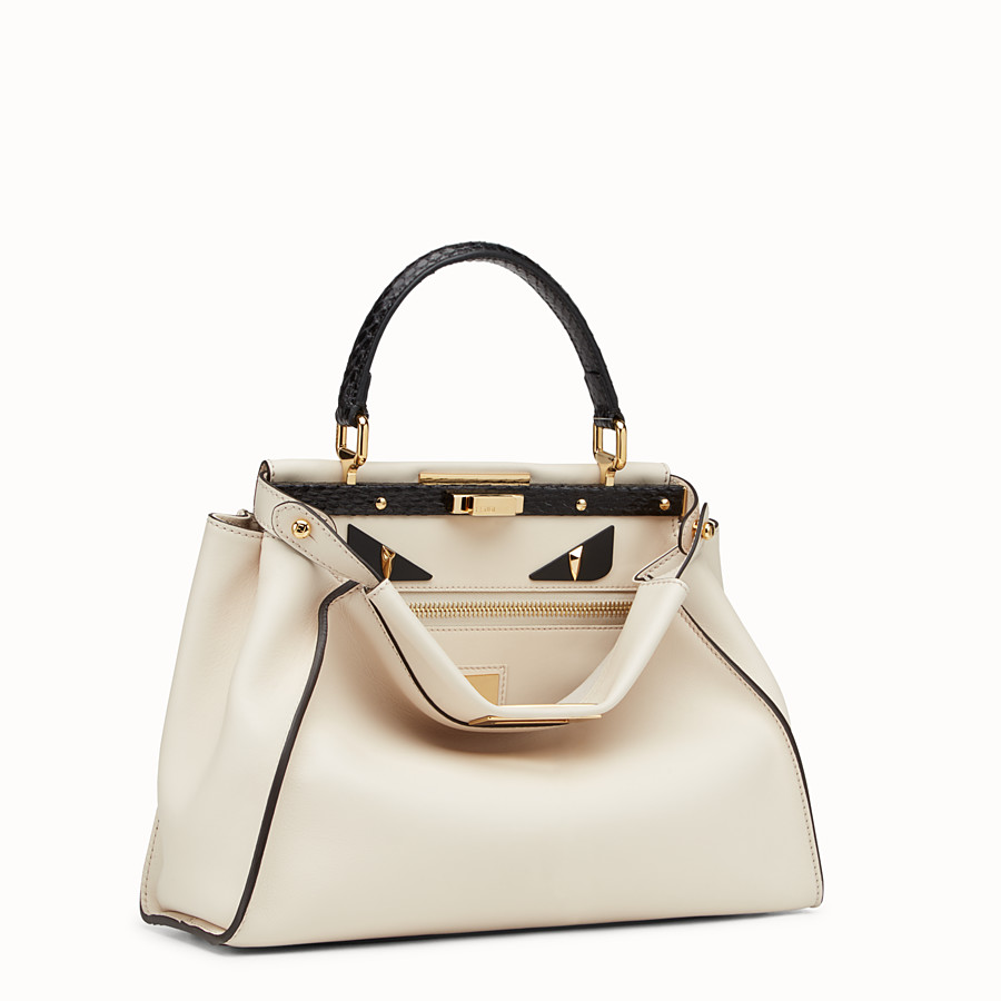 FENDI PEEKABOO REGULAR - White leather bag with exotic details - view 2 detail