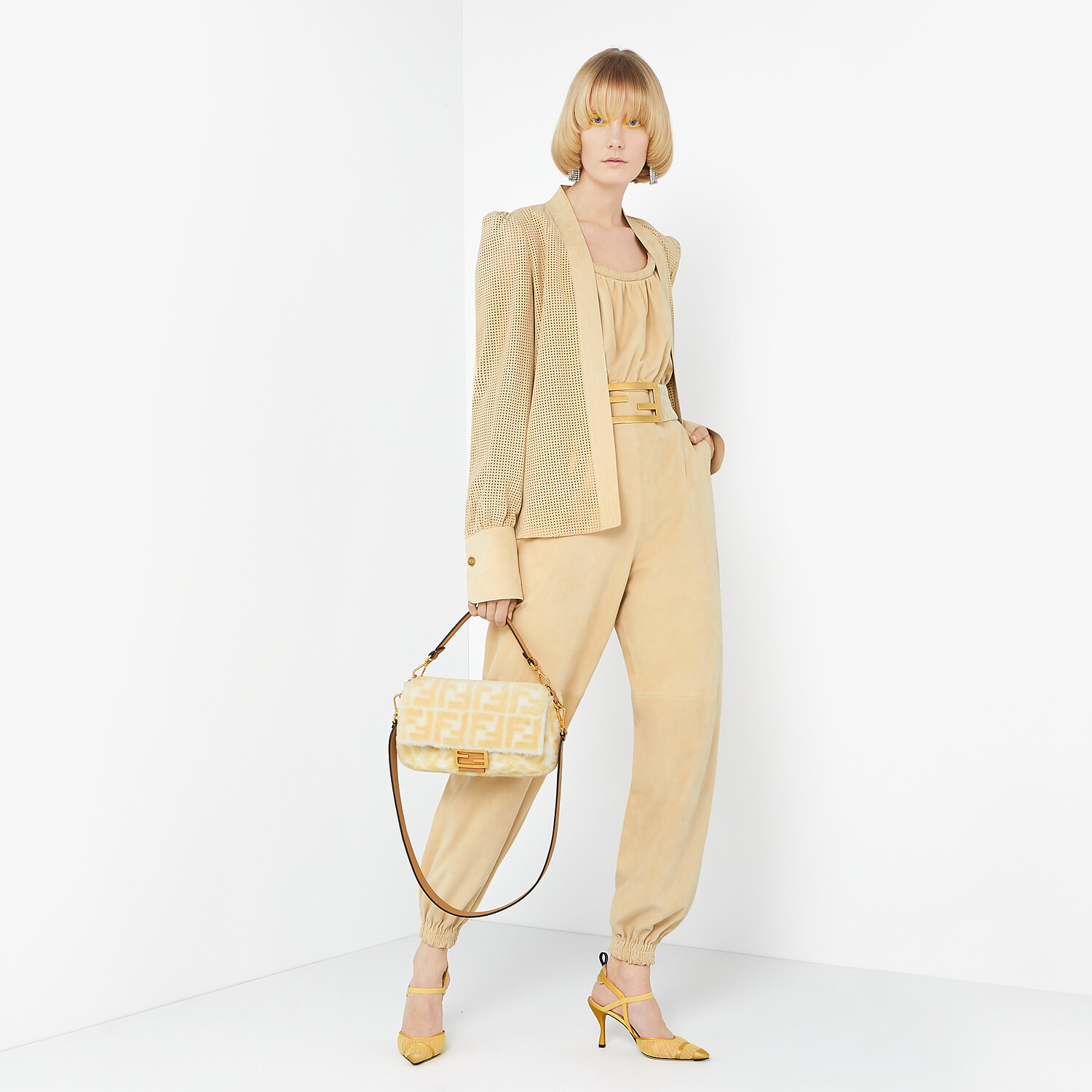FENDI JUMPSUIT - Beige suede jumpsuit - view 4 detail