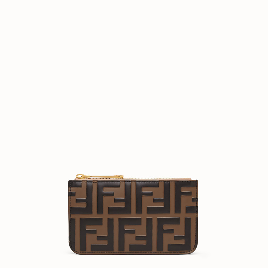 FENDI KEY RING POUCH - Brown leather pouch - view 1 detail