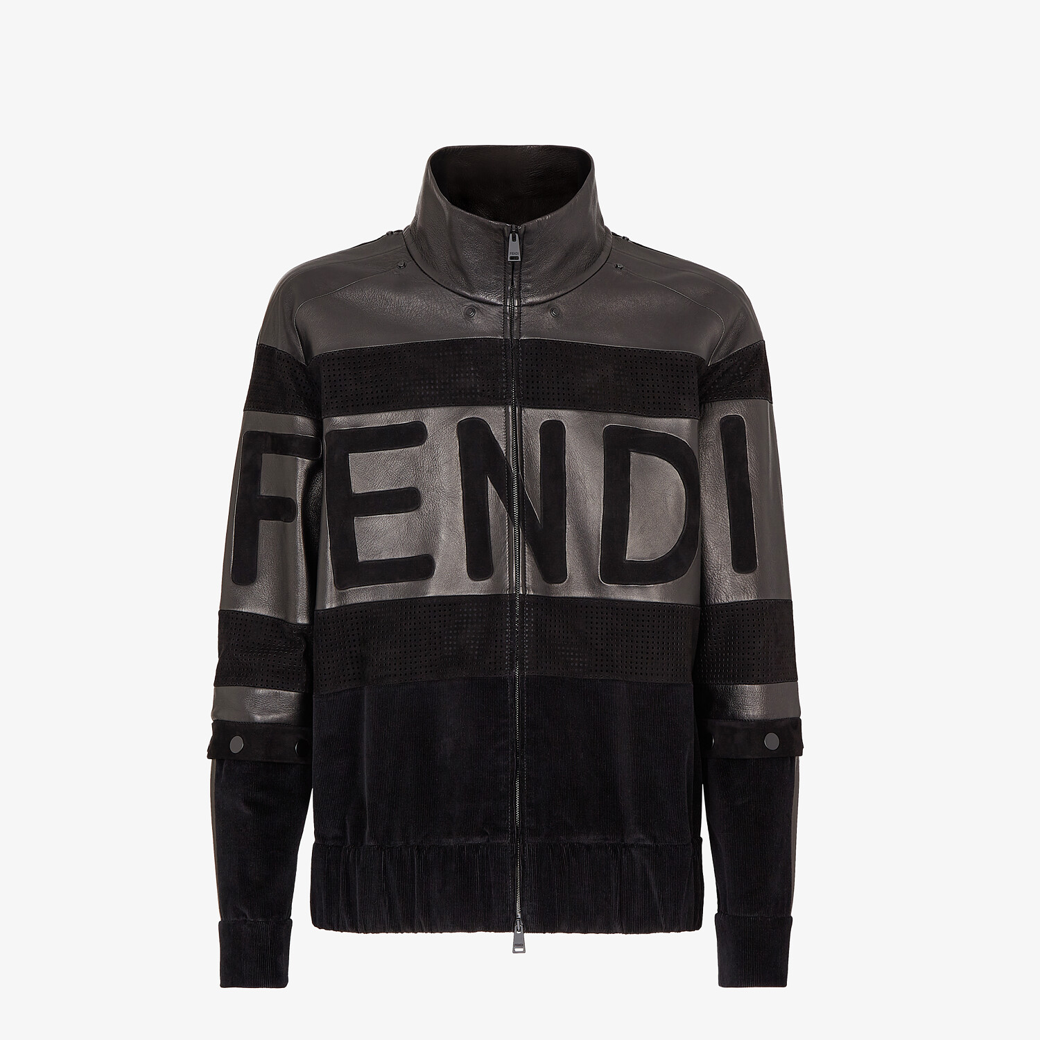 FENDI BLOUSON JACKET - Black suede and leather jacket - view 4 detail