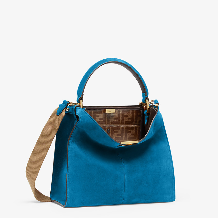 FENDI PEEKABOO X-LITE MEDIUM - Blue suede bag - view 3 detail