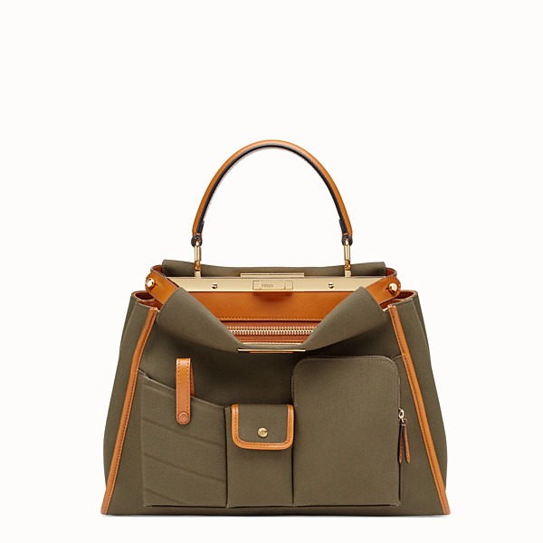 FENDI PEEKABOO ICONIC LARGE - Green canvas bag - view 1 small thumbnail
