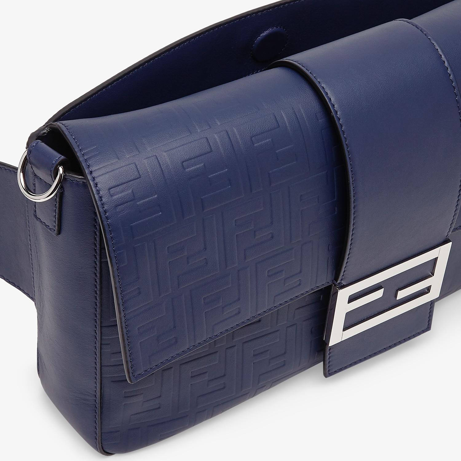 FENDI BAGUETTE LARGE - Blue calfskin bag - view 6 detail