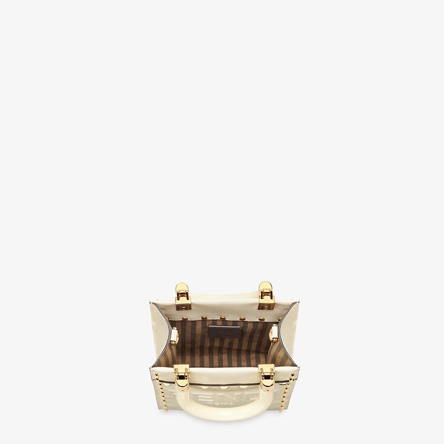 FENDI MINI SUNSHINE SHOPPER - White leather mini bag - view 4 detail