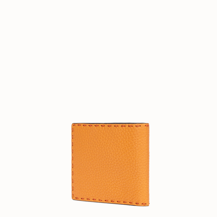 FENDI WALLET - Orange leather bi-fold wallet - view 2 detail
