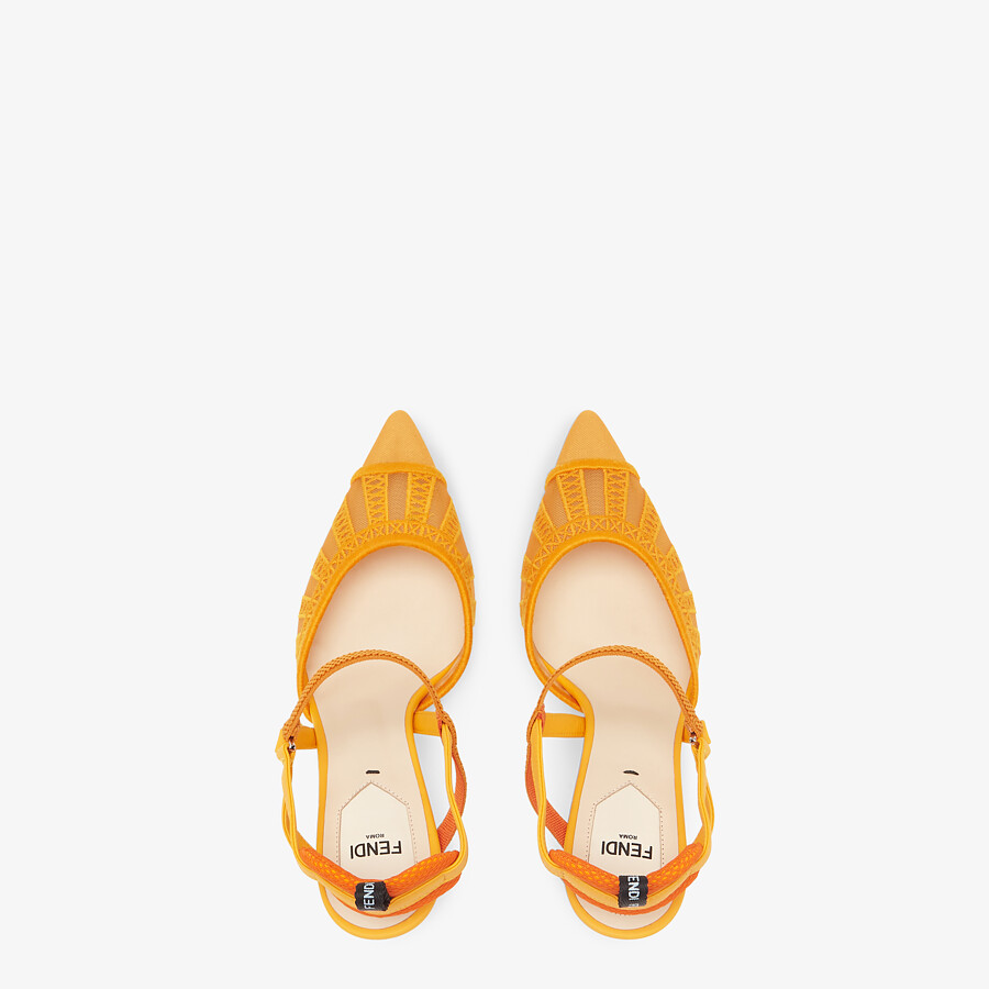 FENDI COLIBRI LITE SLINGBACKS - Orange micro-mesh slingbacks - view 4 detail