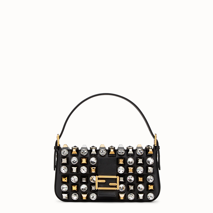 FENDI BAGUETTE - leather shoulder bag with studs and rhinestones - view 1 detail