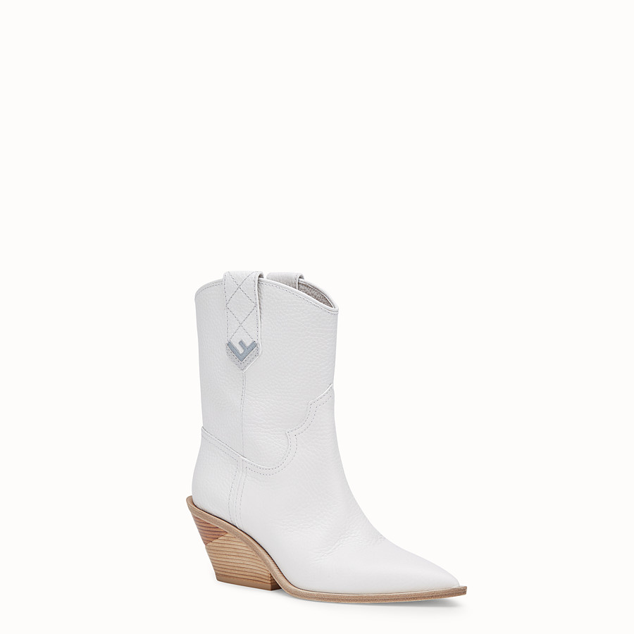 FENDI BOOTS - White leather ankle boots - view 2 detail