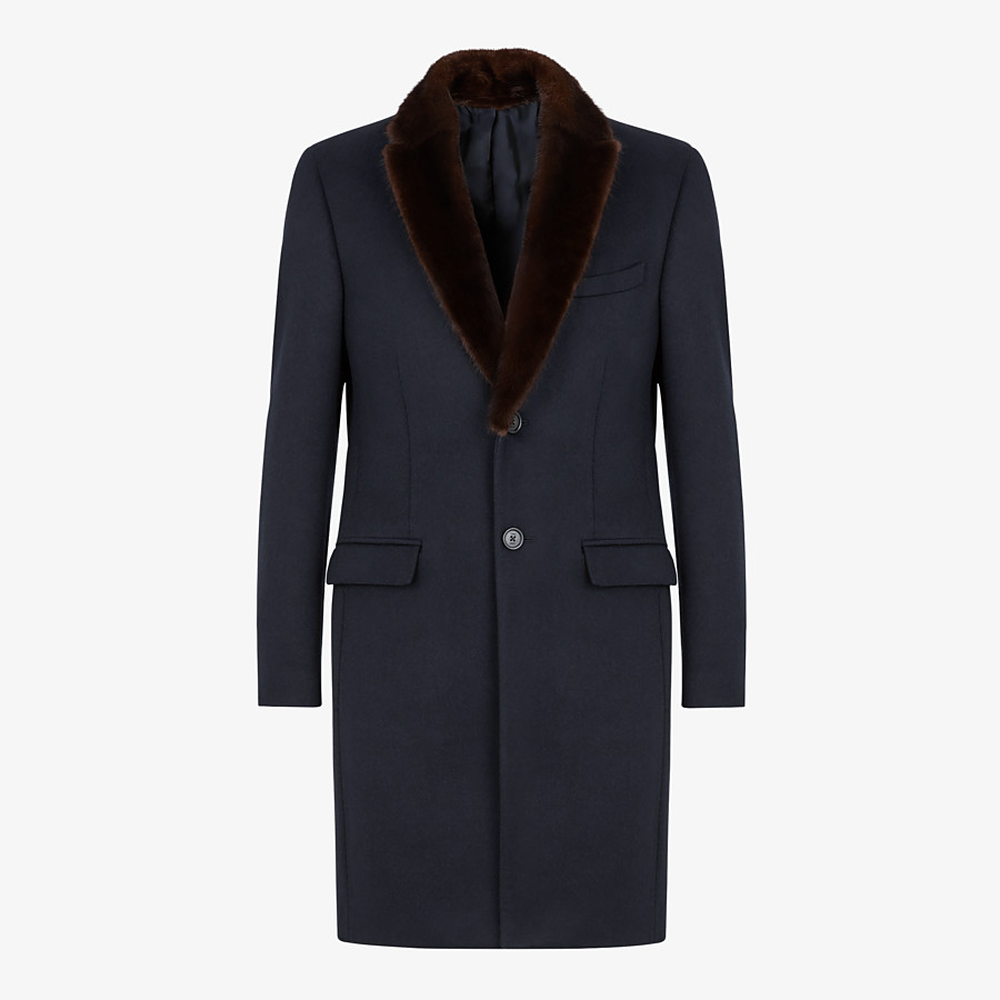 FENDI COAT - Blue wool and cashmere coat - view 1 detail