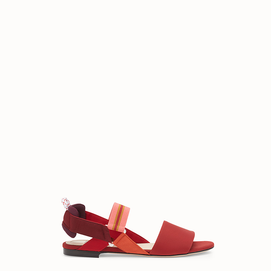FENDI SANDALS - Red tech fabric flats - view 1 detail