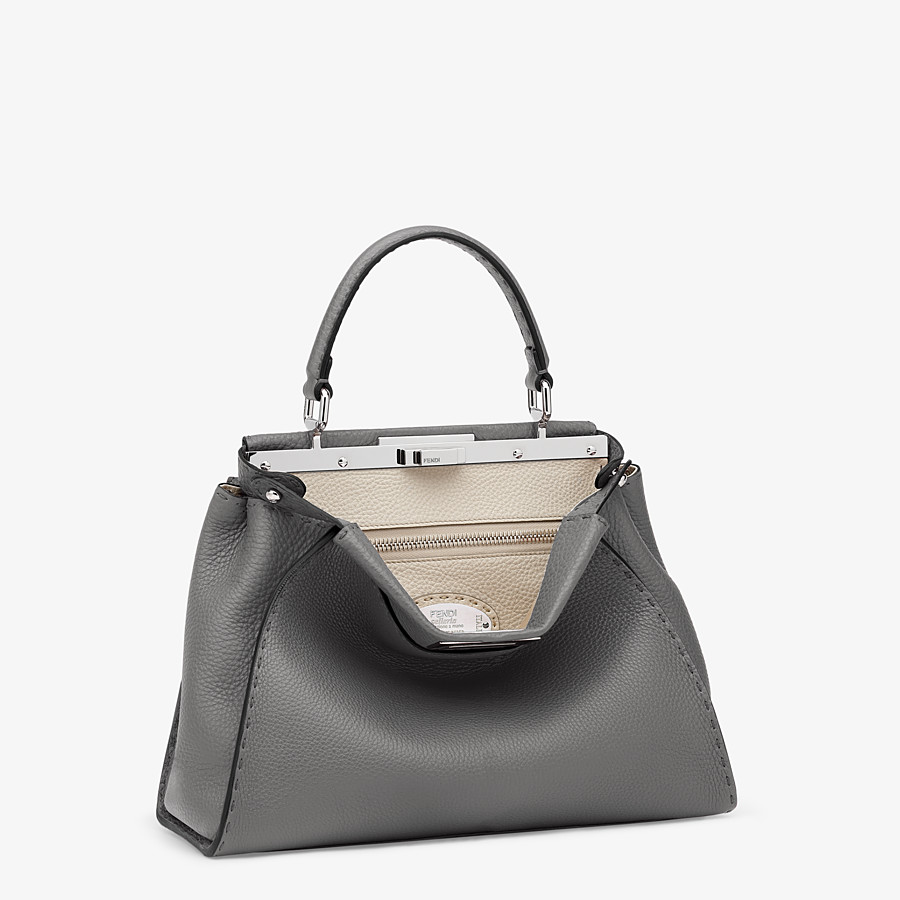 FENDI PEEKABOO ICONIC MEDIUM - Gray Cuoio Romano leather bag - view 2 detail