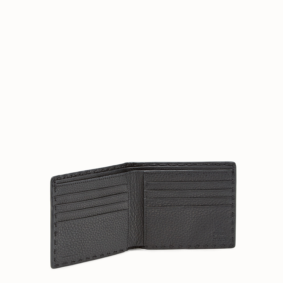 FENDI WALLET - horizontal black Roman leather - view 3 detail