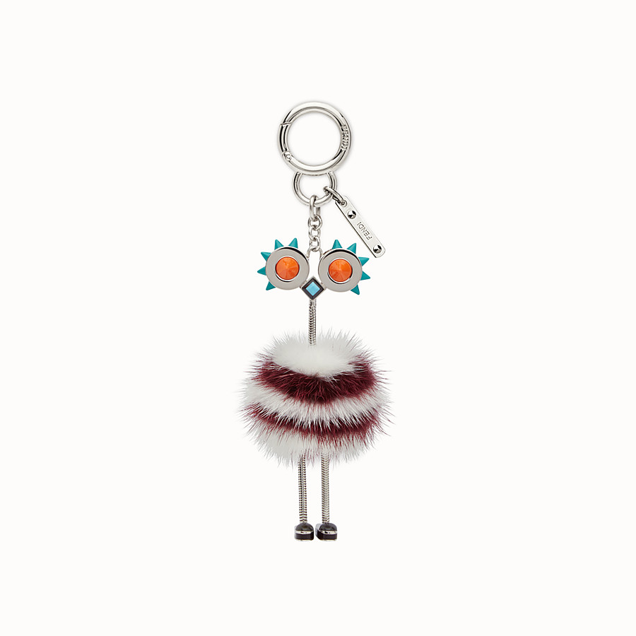 FENDI CHICK BAG CHARM - 白色和紅色皮草吊飾 - view 2 detail