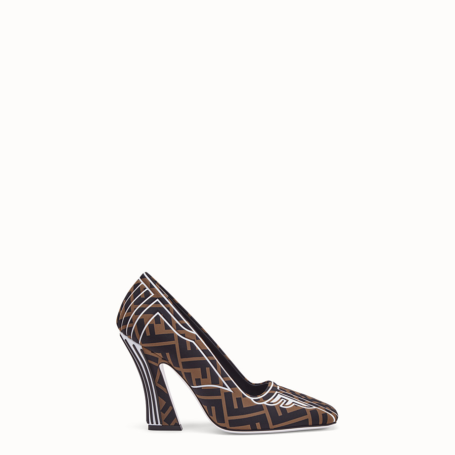 FENDI COURT SHOES - Court shoes in brown fabric - view 1 detail