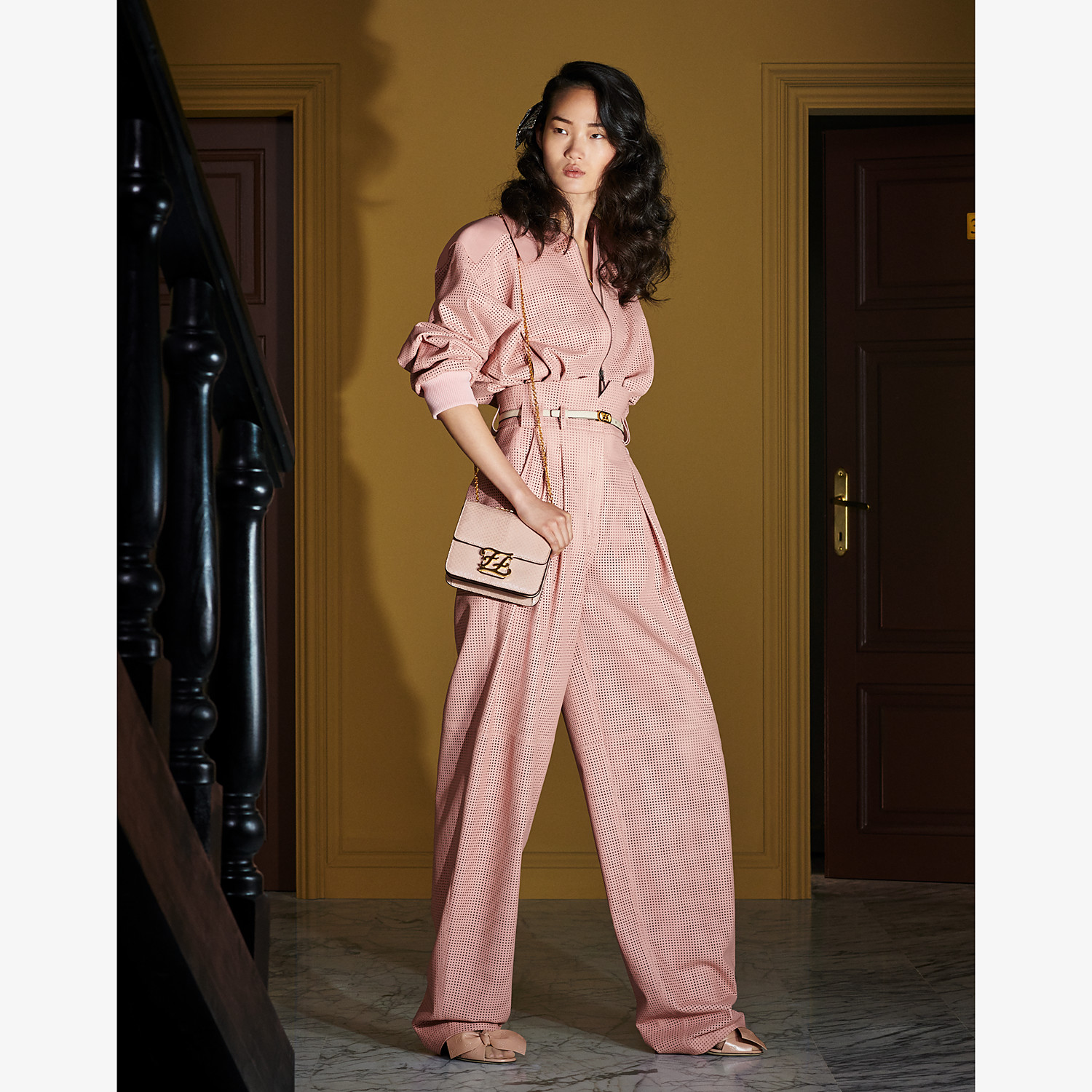 FENDI TROUSERS - Pink leather trousers - view 4 detail