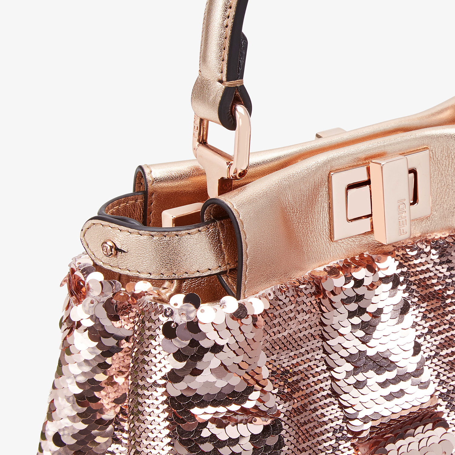 FENDI PEEKABOO ICONIC XS - Pink leather mini-bag - view 5 detail